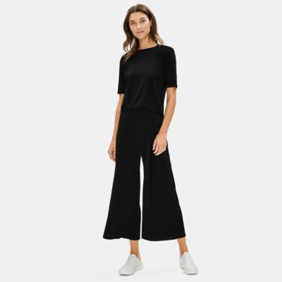 Tencel Jersey Pleated Wide-Leg Ankle Pant
