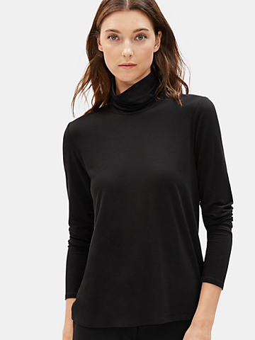 Tencel Jersey Turtleneck Top