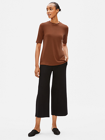 Tencel Jersey Mock Neck Top