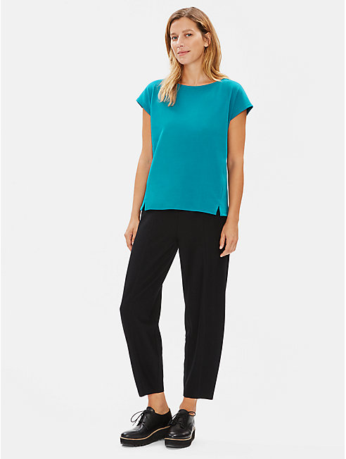 Organic Cotton Interlock Bateau Neck Tee