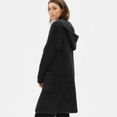 Knit Fur Hooded Long Cardigan