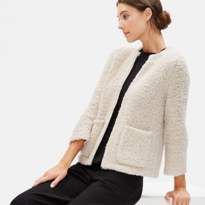 Knit Fur Round Neck Cardigan