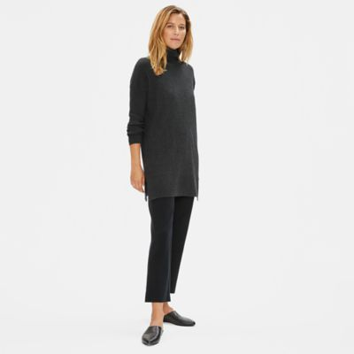 Luxe Merino Stretch Funnel Neck Tunic in Responsible Wool