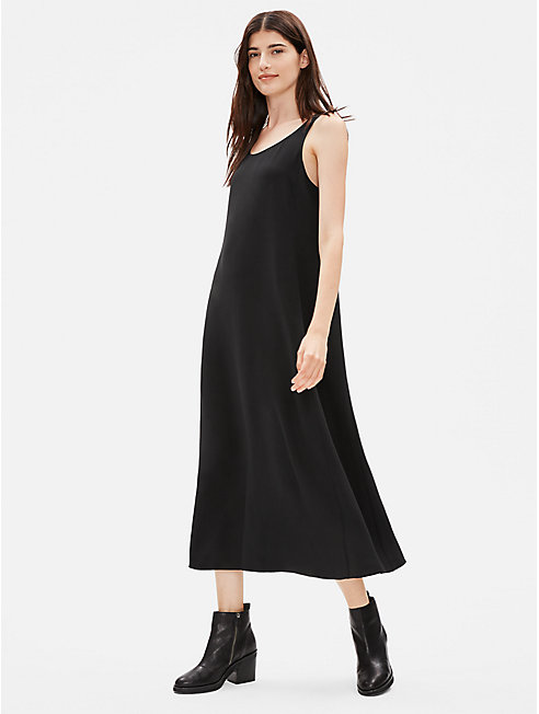 Silk Georgette Crepe Scoop Neck Dress