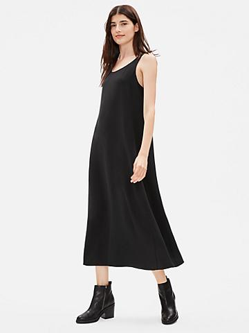 Silk Georgette Crepe Scoop Neck Dress