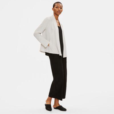 Silk Georgette Crepe Drape Front Jacket