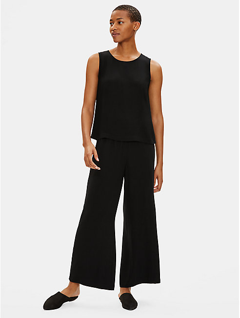 Silk Georgette Crepe Wide-Leg Ankle Pant