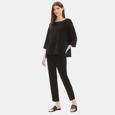 Silk Georgette Crepe Bateau Neck Top