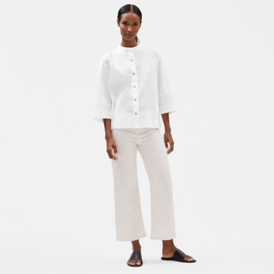 Undyed Organic Cotton Stretch Wide-Leg Jean