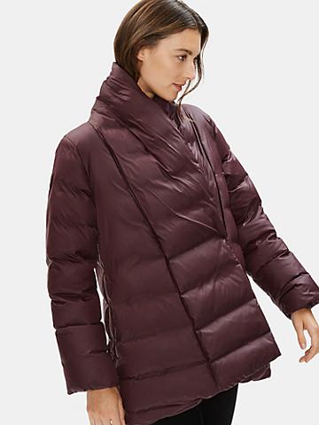 Recycled Nylon Shawl Collar Coat