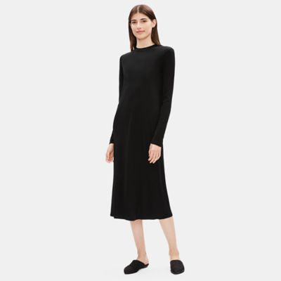 Stretch Silk Jersey Mock Neck Dress