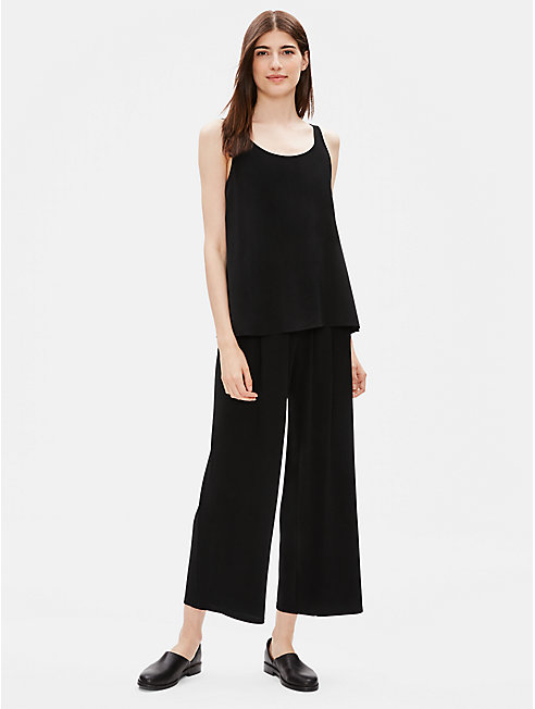 Stretch Silk Jersey Wide Ankle Pant