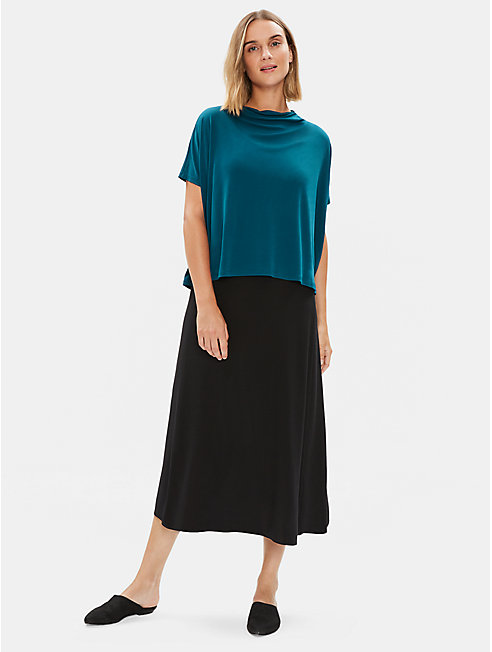 Stretch Silk Jersey Funnel Neck Top