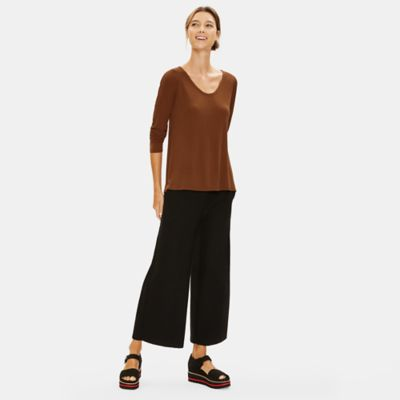 Stretch Silk Jersey V-Neck Tee