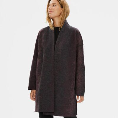 Oxidized Wool Jacquard High Collar Coat
