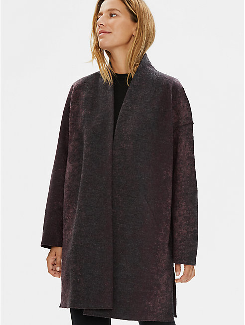 Oxidized Wool Jacquard High Collar Coat