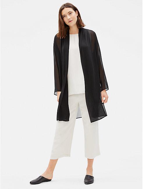 Sheer Silk Georgette Long Jacket