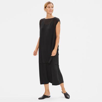 Sheer Silk Georgette Cap-Sleeve Tunic