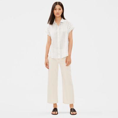 Organic Cotton Tencel Striped Boxy Shirt