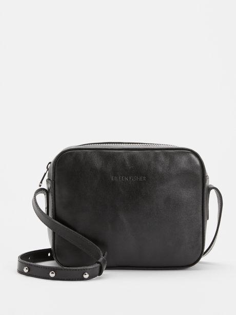 Sleek Italian Leather Crossbody Bag by Eileen Fisher