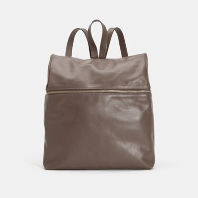 Sleek Italian Leather Zip Top Backpack