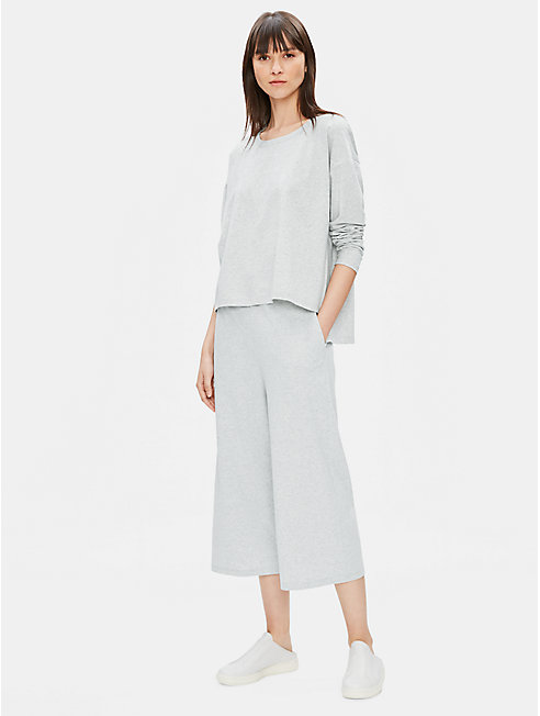 Organic Cotton Speckle Knit Wide-Leg Pant