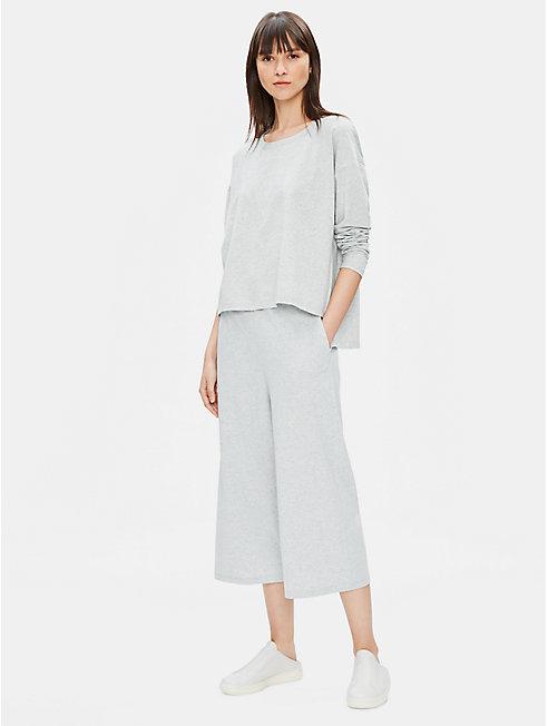 Organic Cotton Speckle Knit Wide-Leg Pant