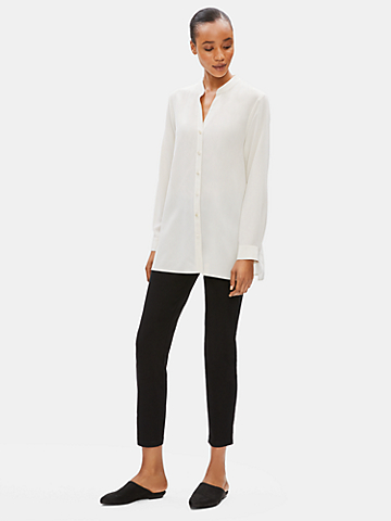 Silk Crepe de Chine Stand Collar Shirt