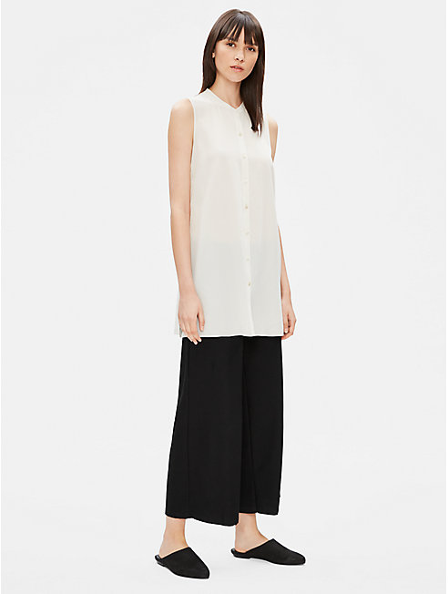 Silk Crepe de Chine Sleeveless Long Tunic