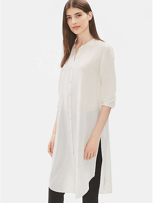 Silk Crepe de Chine Shirt Dress