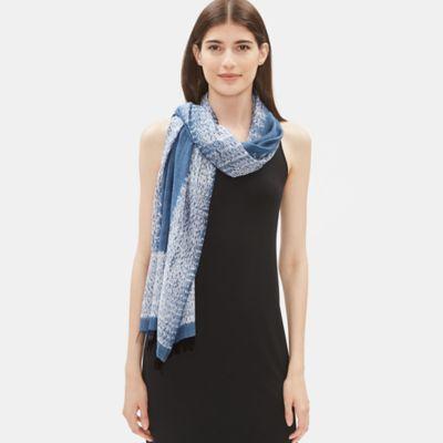 Handloomed Shibori Organic Cotton Silk Scarf