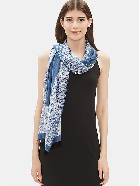 Handloomed Shibori Organic Cotton Silk Scarf