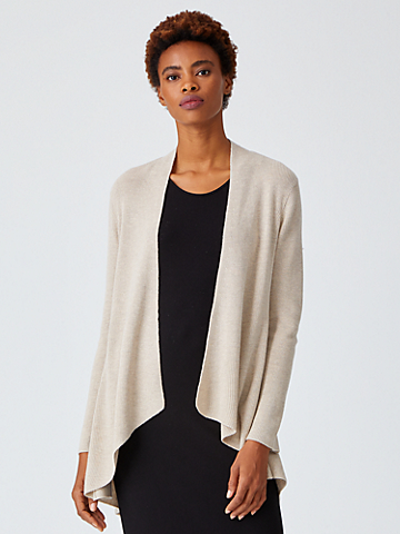 Silk Cashmere Angle Front Cardigan