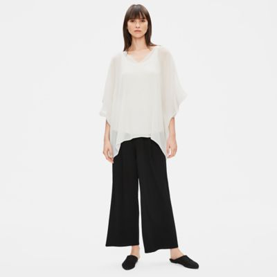 Recycled Polyester Pleated Poncho Top