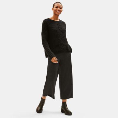 Melange Tencel Ponte Wide-Leg Pant