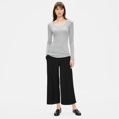 Micro Tencel Rib Scoop Neck Top