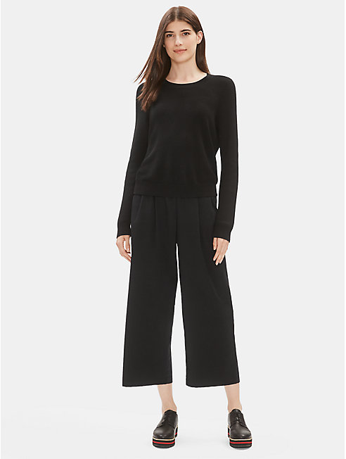 Organic Cotton Stretch Poplin Pleated Pant