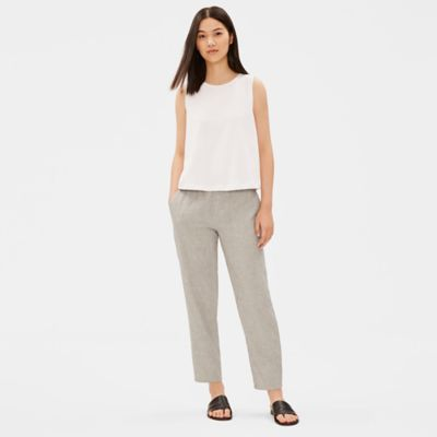 Organic Cotton Linen Ticking Stripe Slouchy Pant