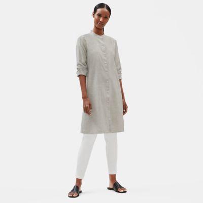 Organic Cotton Linen Ticking Stripe Long Shirt