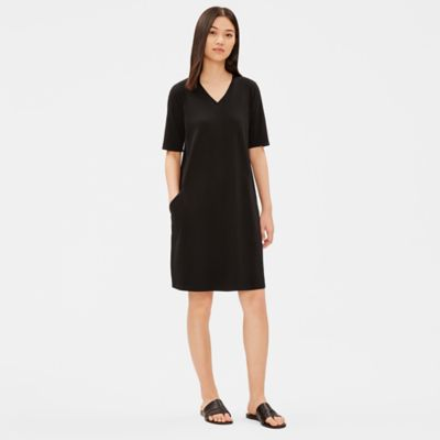 Organic Cotton Stretch V-Neck Dress