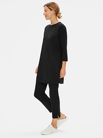 Organic Cotton Stretch Slim Ankle Pant with Zipper Slits