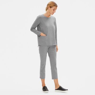 Heathered Organic Cotton Slim Pant with Zipper Slits
