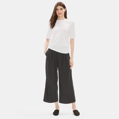 Sandwashed Tencel Pleated Wide-Leg Pant