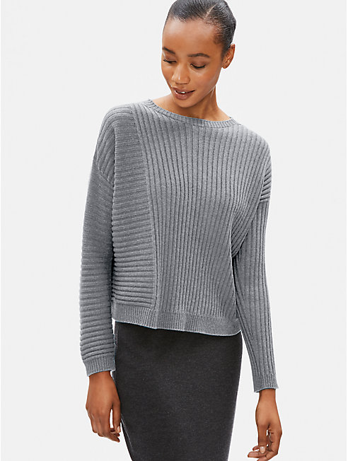 Seamless Italian Cashmere Ribbed Box-Top