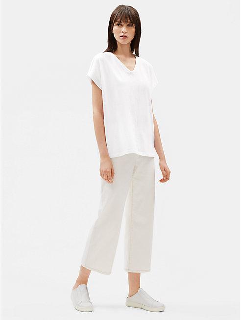 Organic Cotton Jersey V-Neck Box-Top