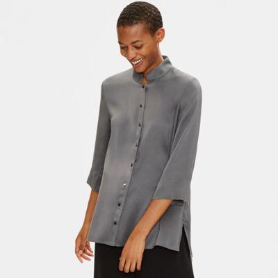 Silk Dupioni Stand Collar Shirt