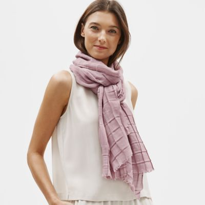 Pleated Wool Silk Grid Scarf