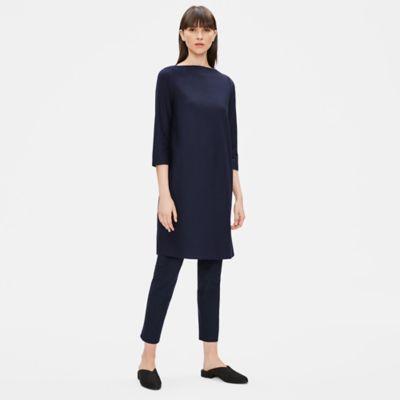 Washable Stretch Crepe Shift Dress