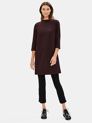 Washable Stretch Crepe Funnel Neck Dress