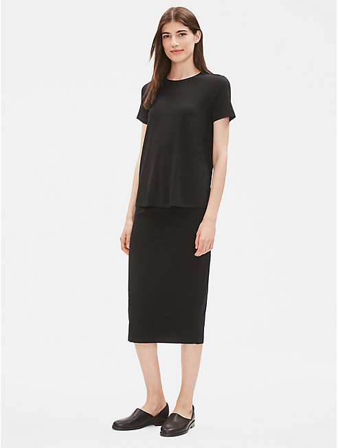 Washable Stretch Crepe Slim Skirt